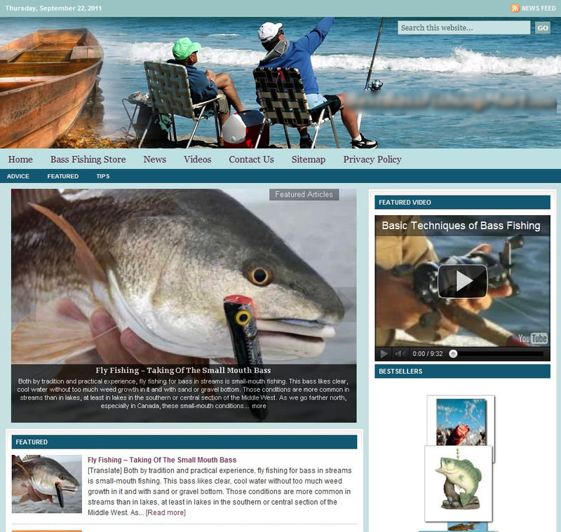 Bass fishing niche website turnkeypages for Bass fishing websites