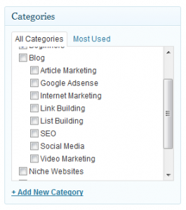 sub-categories wordpress