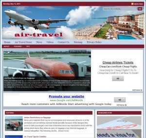 Air Travel Tips Turnkey Niche Website