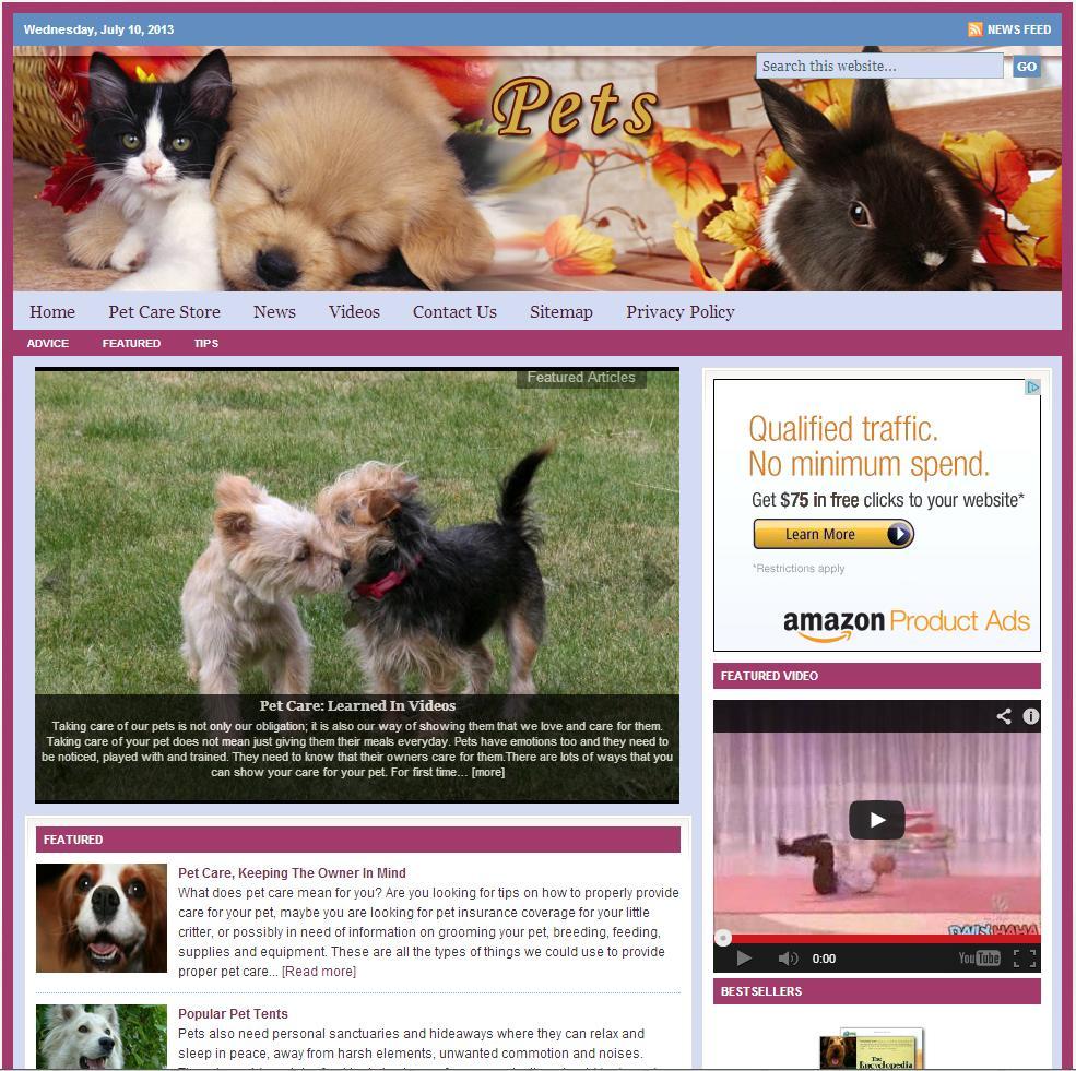 Pet Care Niche Website