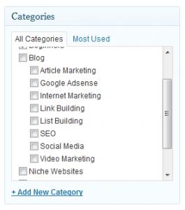 sub-categories wordpress